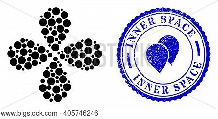 Circle Centrifugal Flower With Four Petals, And Blue Round Inner Space Textured Badge With Icon Insi