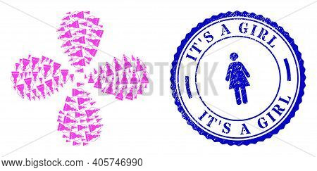 Bride Rotation Abstract Flower, And Blue Round Its A Girl Scratched Watermark With Icon Inside. Obje