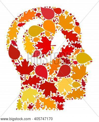 Remember Mosaic Icon Organized For Fall Season. Raster Remember Mosaic Is Formed With Scattered Fall