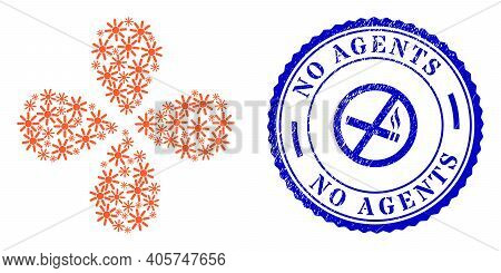 Sun Rays Swirl Flower With Four Petals, And Blue Round No Agents Scratched Watermark With Icon Insid