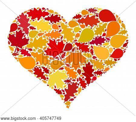 Love Heart Mosaic Icon Organized For Fall Season. Raster Love Heart Mosaic Is Created Of Random Autu