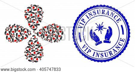 Love Heart Care Hands Explosion Abstract Flower, And Blue Round Vip Insurance Unclean Stamp Seal Wit