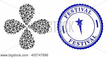 Toxic Mushroom Centrifugal Flower Shape, And Blue Round Festival Dirty Stamp With Icon Inside. Objec