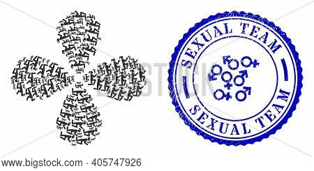 Knee Standing Girl Twirl Abstract Flower, And Blue Round Sexual Team Unclean Rubber Print With Icon