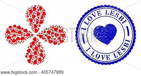 Favorite Hearts Exploding Flower With Four Petals, And Blue Round I Love Lesbi Dirty Watermark With