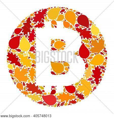 Bitcoin Mosaic Icon Organized For Fall Season. Raster Bitcoin Mosaic Is Shaped Of Randomized Autumn
