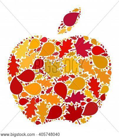 Apple Mosaic Icon Designed For Fall Season. Raster Apple Mosaic Is Designed With Randomized Autumn M