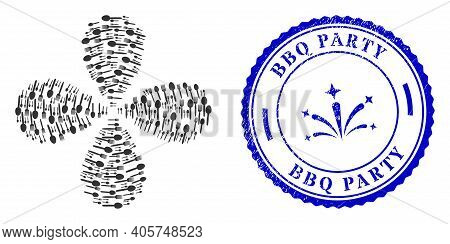 Food Utensil Explosion Flower With Four Petals, And Blue Round Bbq Party Unclean Stamp Imitation Wit