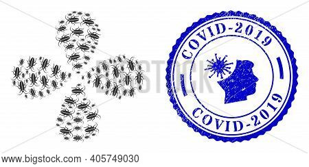 Cockroach Rotation Flower With Four Petals, And Blue Round Covid-2019 Dirty Stamp Seal With Icon Ins