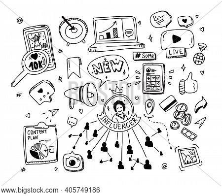 Doodle Set Social Media Concept. Influencer Marketing Elements