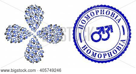 Gay Couple Symbol Curl Flower With Four Petals, And Blue Round Homophobia Textured Rubber Print With