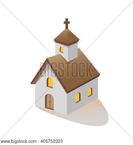 Christian Church Building Three Quarter Vector Illustration