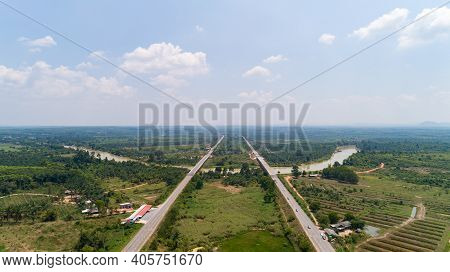 Aerial View Highway Traffic Road With Cars,view Above,aerial View Of The Road And Skyline.