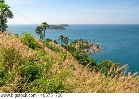 Laem Promthep Cape With Coconut Palm Trees And Grass In The Foreground Beautiful Scenery Andaman Sea