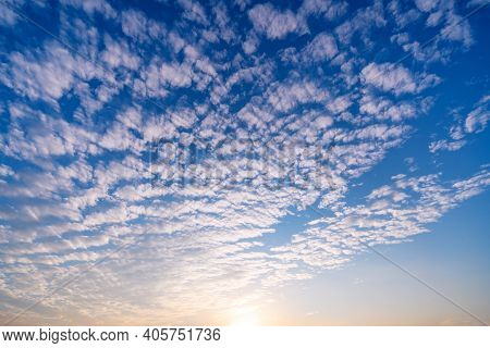 Beautiful Sky With Clouds Before Sunset Or Sunrise Sky Background.