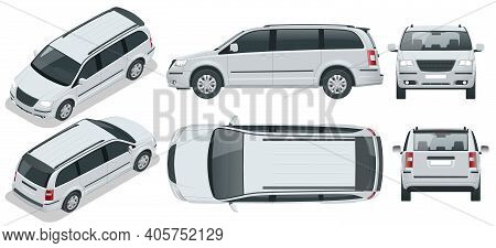 Passenger Van Or Minivan Car Vector Template On Background. Compact Crossover, Suv, 5-door Minivan C