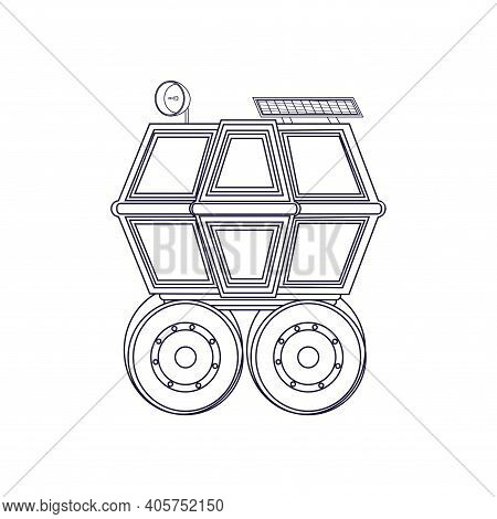 Isolated Lunar Roving Vehicle. Lunar Exploration Mission - Vector