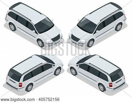 Passenger Van Or Minivan Car Vector Template On White Background. Compact Crossover, Suv, 5-door Min