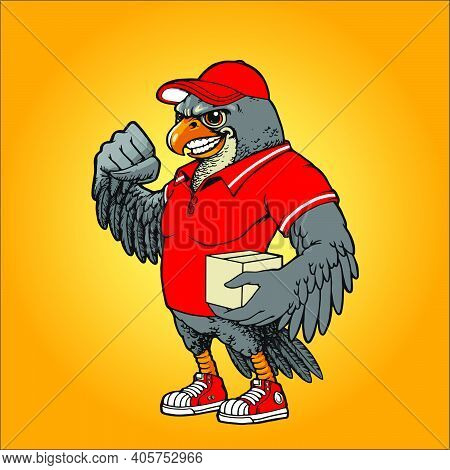 Red Hawk Courier Delivery Mascot Illustrations For Your Work Logo, Mascot Merchandise T-shirt, Stick