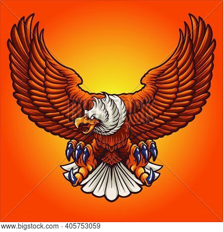 Strong Eagle Mascot Vector Illustrations For Your Work Logo, Mascot Merchandise T-shirt, Stickers An