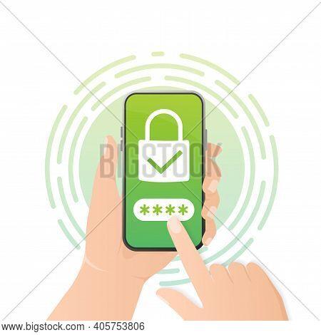 Password Secure. Vector Illustration, Flat. Isometric Vector Illustration. Data Secure. Icon For Mob