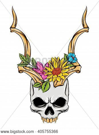 The Isolated Illustration Of The Grim Skull With The Horns And Colored Flowers