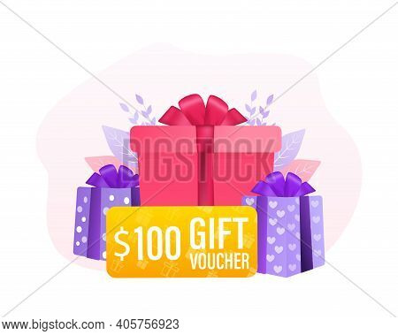 3d Advertising With Gift Voucher Presents People For Concept Design. Sale, Discount, Special Offer C