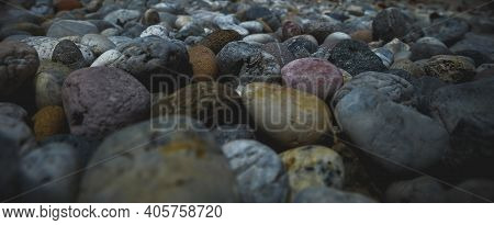 Small Gravel Surface, Background Gravel, Close Up Soft Focus With Vignetting