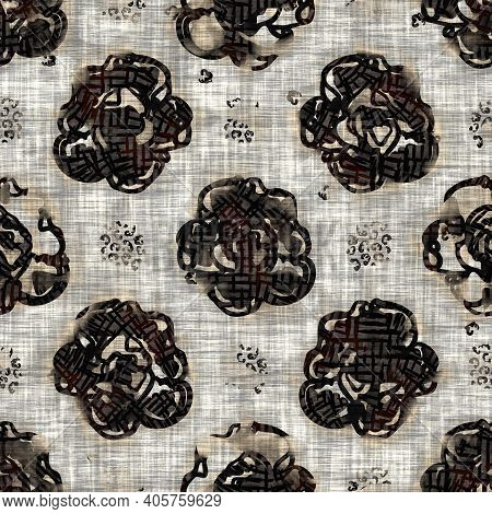 Seamless Floral Sepia Grunge Print Texture Background. Worn Mottled Flower Bloom Pattern Textile Fab