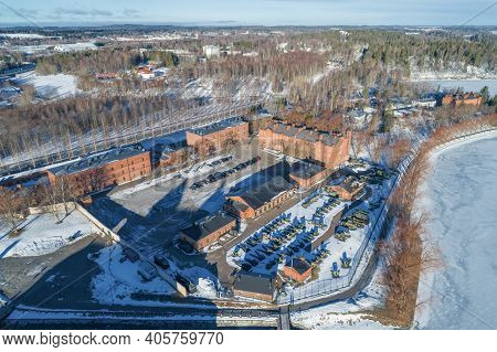 Hameenlinna, Finland - March 02, 2019: Aerial View Of The Artillery Museum Complex On A Sunny March