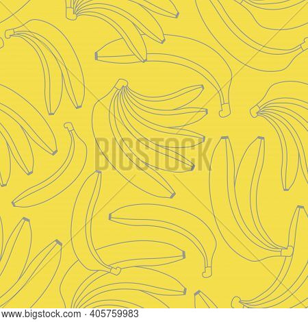 Minimalist Bananas Vector Seamless Pattern On A Yellow Background. Gray Outline Bananas Background.