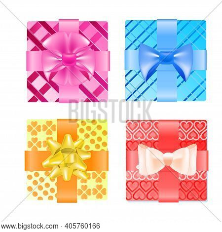 Set Colorful Wrapped Gift Boxes With Bows Valentines Day Celebration Concept Vector Illustration
