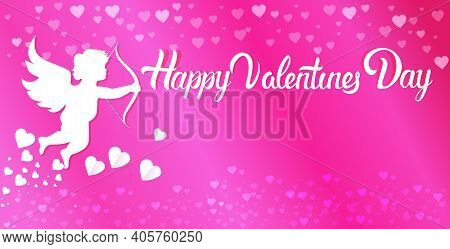 Valentine Cupid Amour Angel Shooting Love Arrows With Heart Valentines Day Celebration Greeting Card
