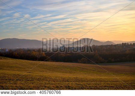 Panorama Of Pribor City At Sunset, Czech Republic