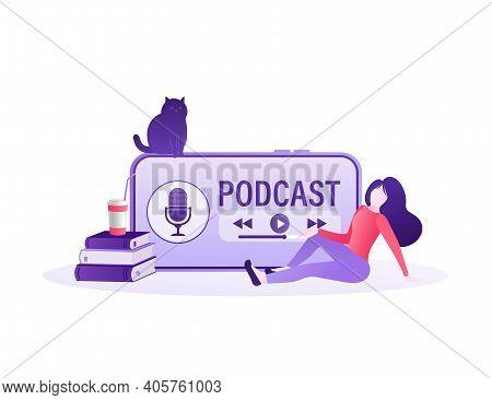 Rest Girl Listening Online Podcast. Cartoon Smartphone Podcast For Marketing Design. Social Media Po
