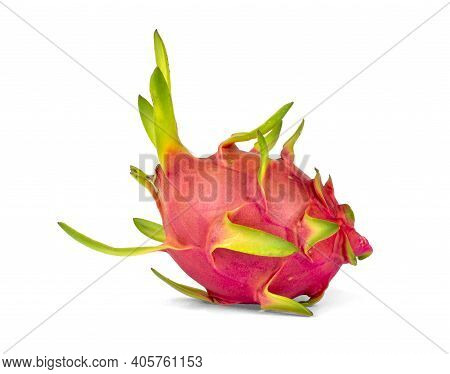 Dragon Fruit Generic Vegetable, Part Of Exotic Plant Isolated On White Background And Clipping Path
