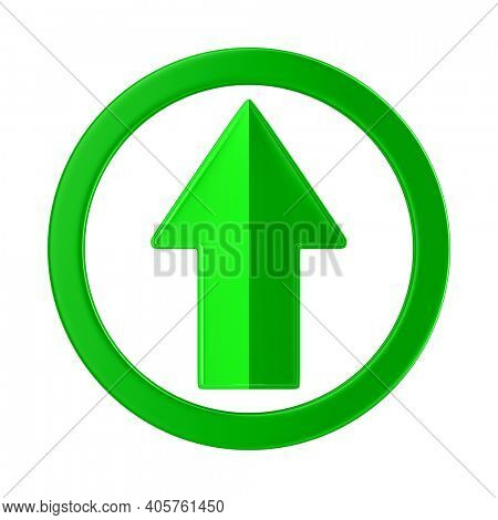 green arrow on white background. Isolated 3D illustration