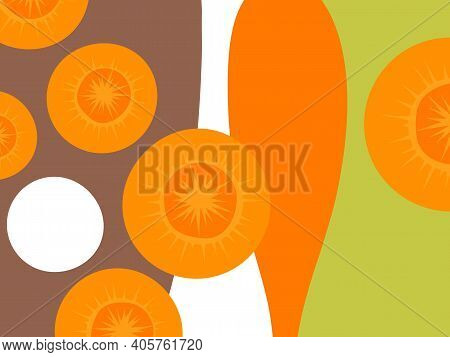 Abstract Vegetable Design In Flat Cut Out Style. Cut Carrots. Vector Illustration.