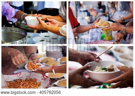 Collage Of Food Donation To The Poor : Concept Of Sharing
