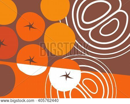 Abstract Vegetables. Cherry Tomatoes, Cross Section Of Onion. Graphic Design Collage For Murals, Pri