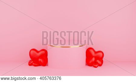 Circle Podium Pink Pastel Color With Gold Edge And Red Heart. Valentine's Day Concept. Mock-up Showc