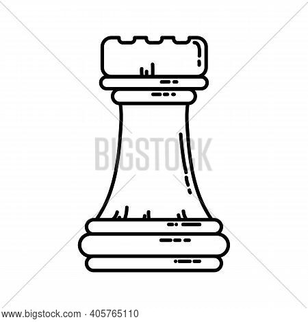 Chess Flat Rook Icon. Stock Vector Image Of A Chess Rook Isolated Outlined Piece.