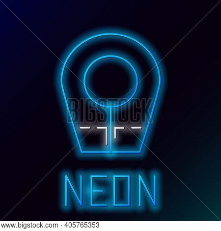 Glowing Neon Line Diving Hood Icon Isolated On Black Background. Spearfishing Hat Winter Swim Hood.