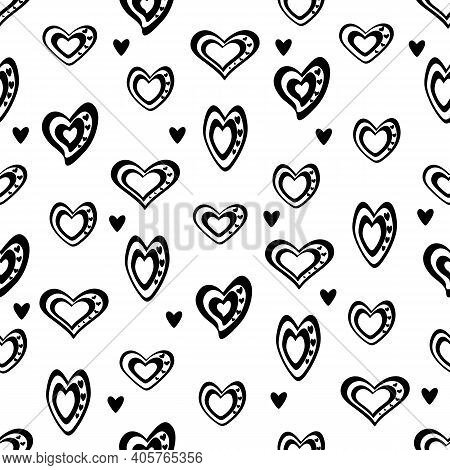 Seamless Vector Unidirectional Pattern. Stylized Black And White Hearts Mixed With Black Hearts, On