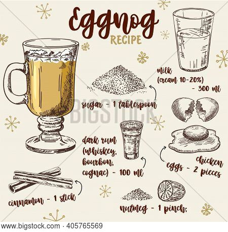 Vector Hand Drawn Illustration Of Eggnog Recipe With List Of Ingredients. Hot Drinks Eggnog Recipe,