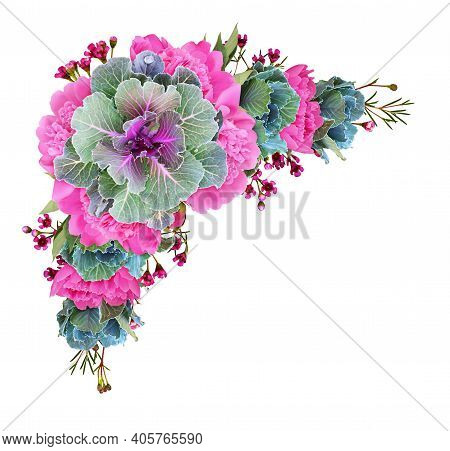 Ornamental Kales And Pink Peony Flowers In A Floral Corner Arrangement Isolated On White Background.