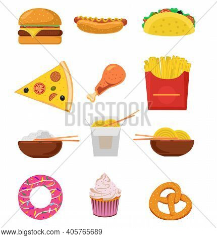 Fast Street Food Lunch Or Breakfast Meal Set. Fast Food Icons. Cheeseburger, French Fries, Fried Cri