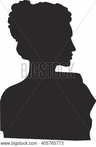 Chinese Woman Face Silhouette. Elegant Beautiful Woman In A Chinese Costume With A National Hairstyl