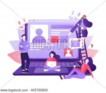 Social Media People. Digital Marketing Illustration. Digital Communication. Photo Frame. Social Medi