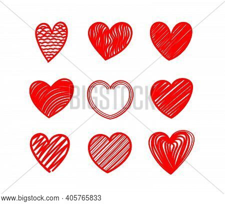 Vallentines Day Vector Logo Design. Red Hearts